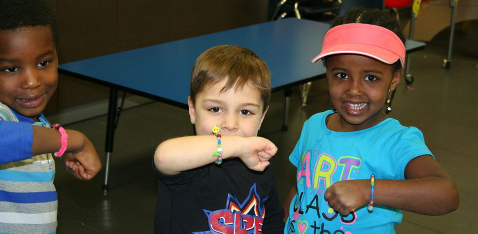 Students Showing their Handmade Friendship Bands