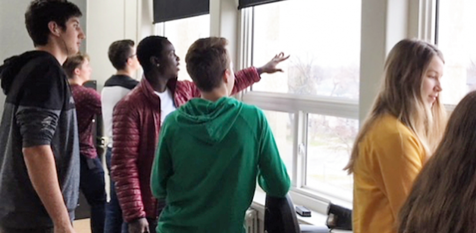 Students Looking Out of Window