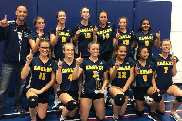 Volleyball Girls Team with Coach of Springs Christian Academy