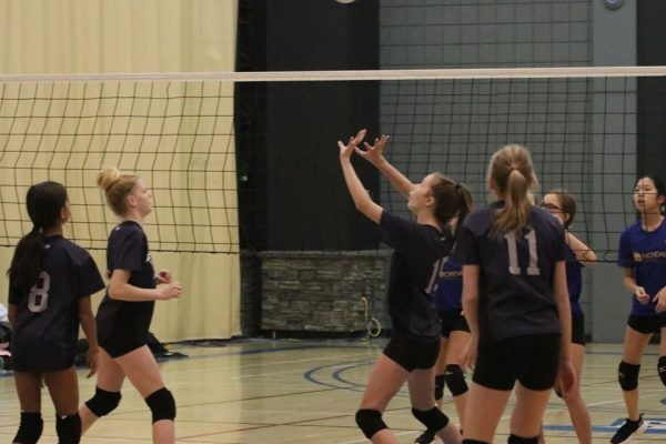 Junior Girls Playing Volleyball at Springs Christian Academy